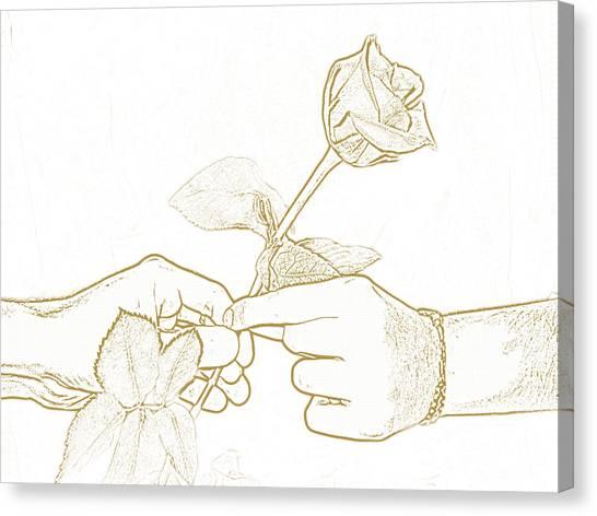 Rose Outline By Jan Marvin Studios Canvas Print