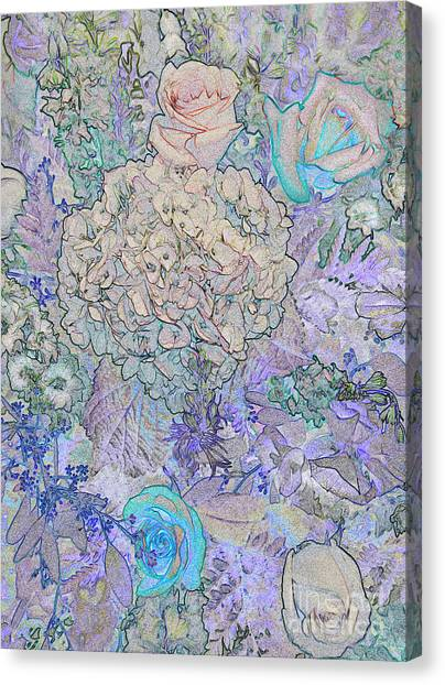 Canvas Print featuring the digital art Rose Tapestry  by Mae Wertz