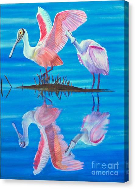 Roseate Spoonbill Pair Canvas Print