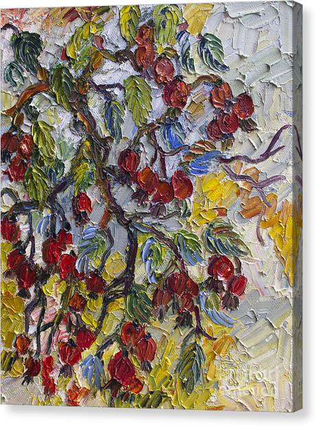 Rosehips Modern Impressionist Oil Painting Canvas Print