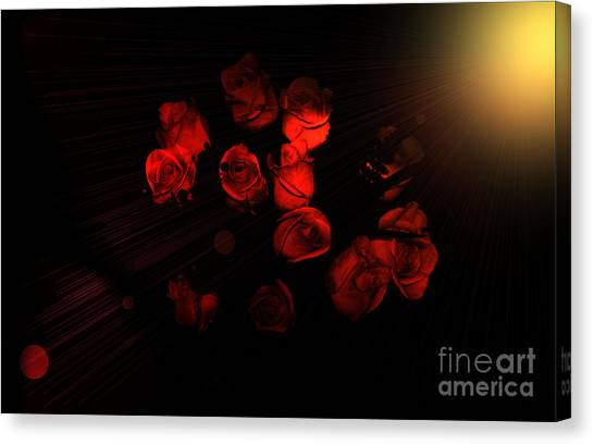Roses And Black Canvas Print