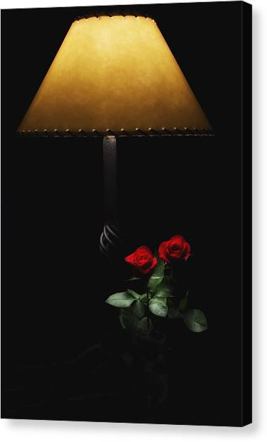 Roses By Lamplight Canvas Print
