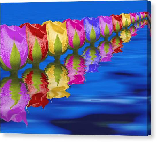 Collage Canvas Print - Roses Floating by Tom Mc Nemar