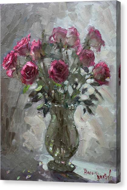 Red Roses Canvas Print - Roses For Viola by Ylli Haruni