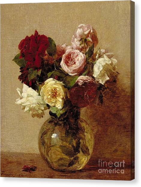 Rose In Bloom Canvas Print - Roses by Ignace Henri Jean Fantin-Latour