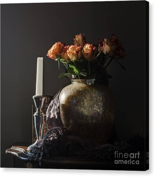 Roses In A Darkening Room Canvas Print