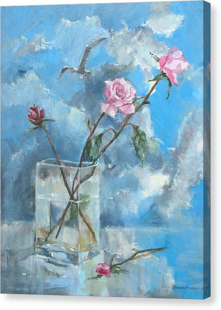 Roses In The Window Canvas Print
