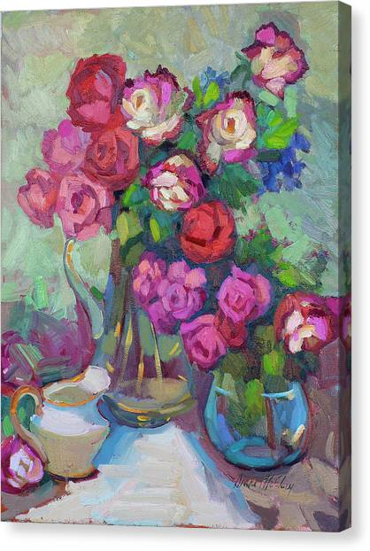 Red Roses Canvas Print - Roses In Two Vases by Diane McClary