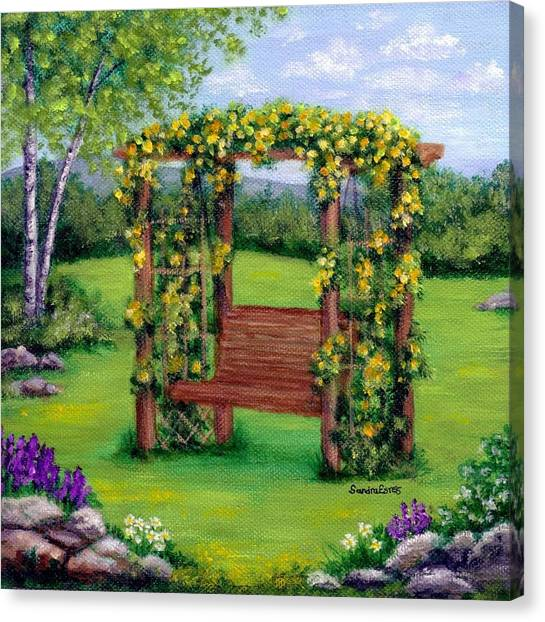 Roses On The Arbor Swing Canvas Print