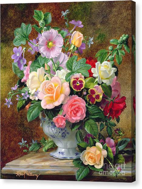 Rose In Bloom Canvas Print - Roses Pansies And Other Flowers In A Vase by Albert Williams