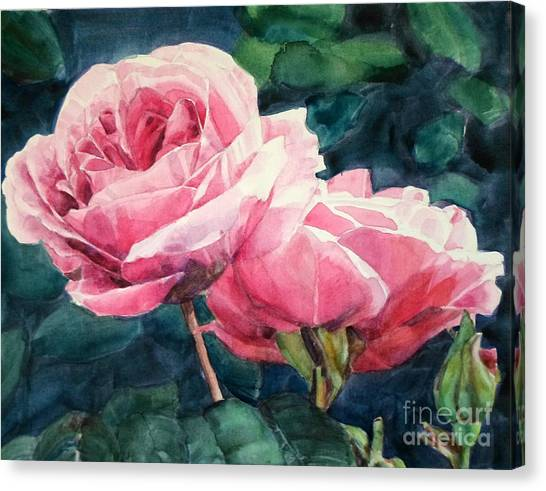 Watercolor Of Two Luscious Pink Roses Canvas Print