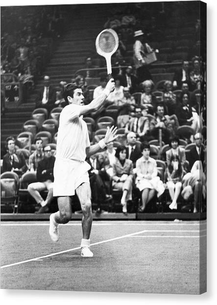 Tennis Racquet Canvas Print - Rosewall Playing Tennis by Underwood Archives