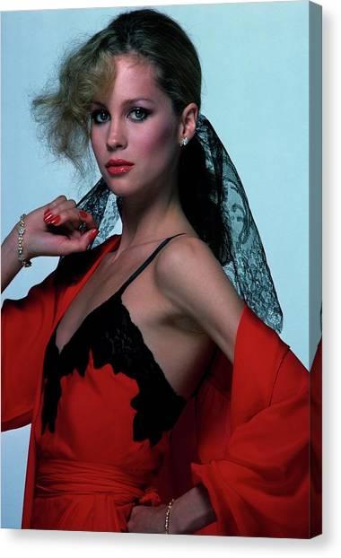 Suga Canvas Print - Rosie Vela Wearing A Red Camisole by Albert Watson