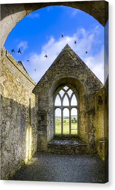 Canvas Print featuring the photograph Ross Errilly Friary - Irish Monastic Ruins by Mark E Tisdale