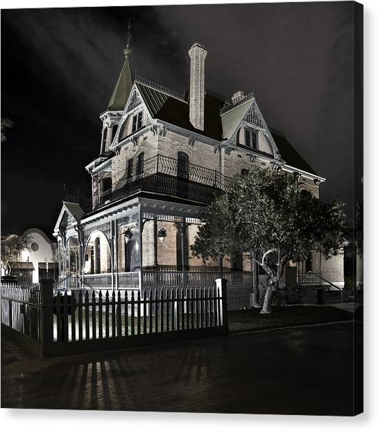 Rosson House Haunted Black And White Canvas Print