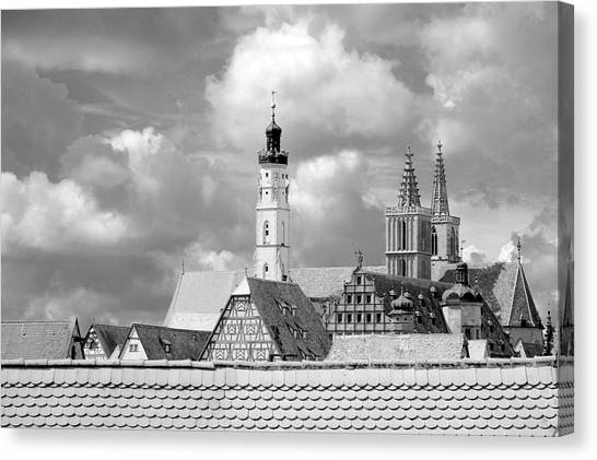 Rothenburg Towers In Black And White Canvas Print