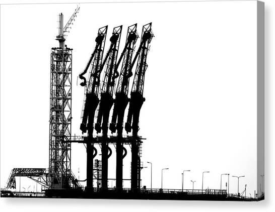 Cranes Canvas Print - Rotterdam-harbour by Jan Niezen