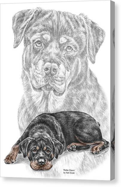 Rottie Charm - Rottweiler Dog Print With Color Canvas Print