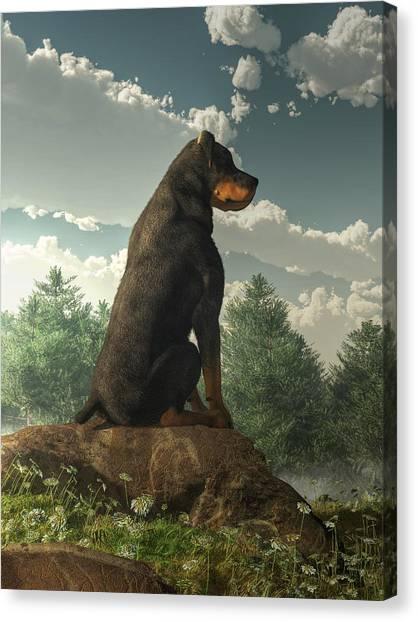 Rottweilers Canvas Print - Rottweiler  by Daniel Eskridge