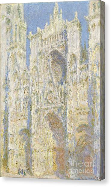 Impressionist Canvas Print - Rouen Cathedral West Facade by Claude Monet