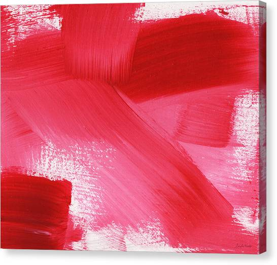 Abstract Rose Canvas Print - Rouge 2- Horizontal Abstract Painting by Linda Woods