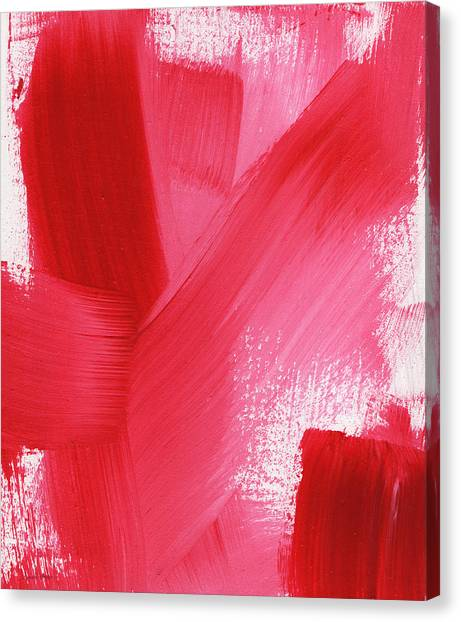 Abstract Rose Canvas Print - Rouge- Vertical Abstract Painting by Linda Woods