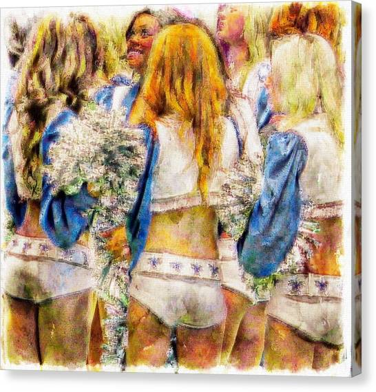 Dallas Cowboys Cheerleaders Canvas Print - Rough Game by Carrie OBrien Sibley
