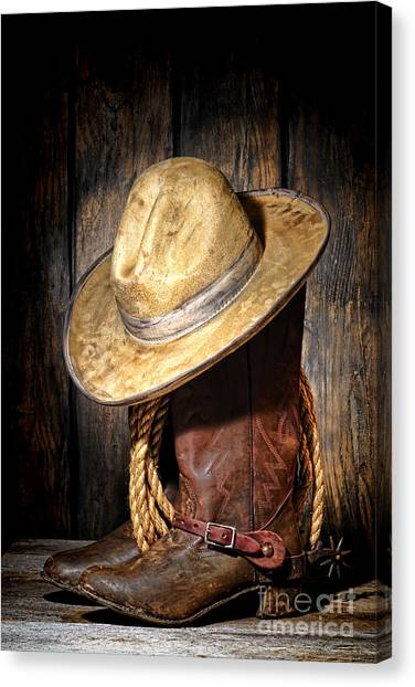 Cowboy Boots Canvas Print - Rough Rider by Olivier Le Queinec