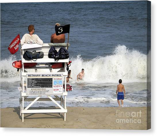 Rough Water At Bethany Beach In Delaware  Canvas Print