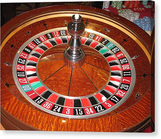 Roulette Wheel And Chips Canvas Print
