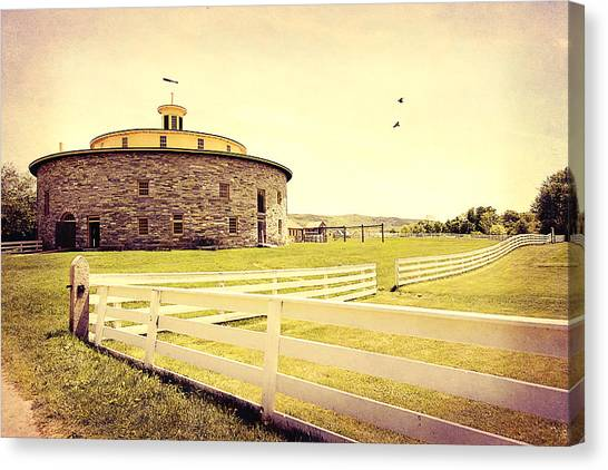 Round Stone Barn Canvas Print