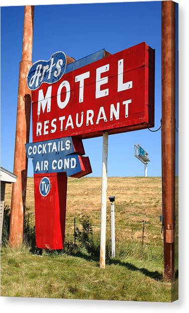 Historic Route 66 Canvas Print - Route 66 - Art's Motel by Frank Romeo