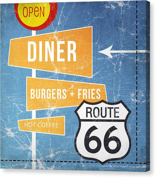 Diners Canvas Print - Route 66 Diner by Linda Woods