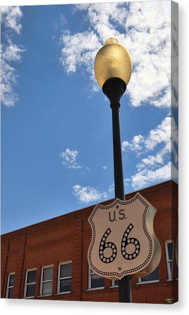 Route 66 Light Post Vivid Canvas Print