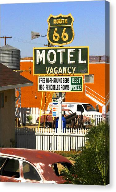 Historic Route 66 Canvas Print - Route 66 Motel - Barstow by Mike McGlothlen