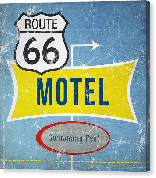 Swimming Canvas Print - Route 66 Motel by Linda Woods