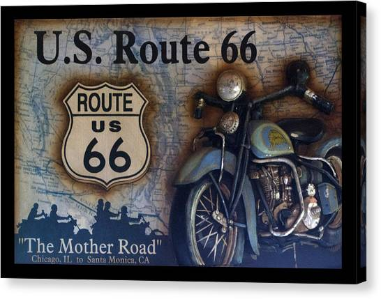 Historic Route 66 Canvas Print - Route 66 Odell Il Gas Station Motorcycle Signage by Thomas Woolworth