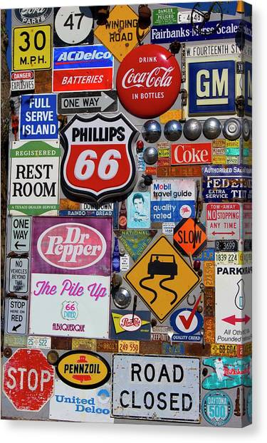 Dr. Pepper Canvas Print - Route 66 Signage Display by Mark Williamson