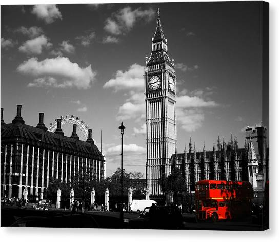 Routemaster Bus On Black And White Background Canvas Print