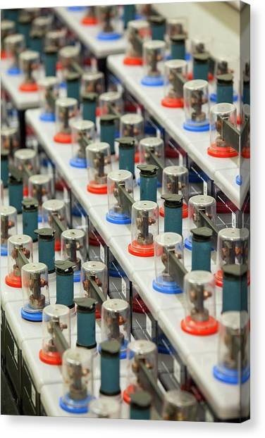 Clean Energy Canvas Print - Row Of Backup Batteries by Ashley Cooper