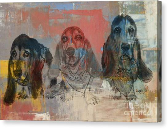 Row Of Basset Hounds Canvas Print