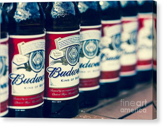 Row Of Beer Bottles Canvas Print
