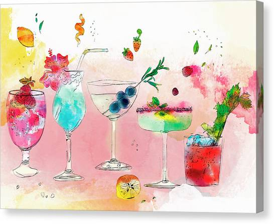 Bloody Mary Canvas Print - Row Of Different Tropical Alcoholic by Ikon Ikon Images