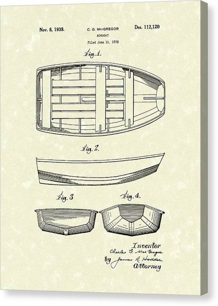 Canvas Print featuring the drawing Rowboat 1938 Patent Art by Prior Art Design