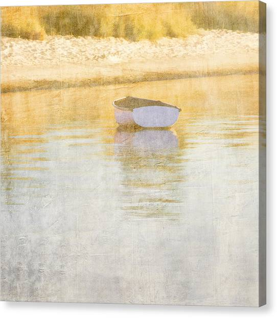 Marthas Vineyard Canvas Print - Rowboat In The Summer Sun by Carol Leigh