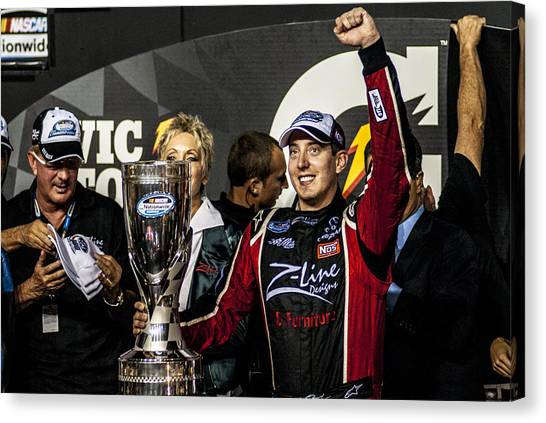 Kyle Busch Canvas Print - Rowdy Winner by Kevin Cable