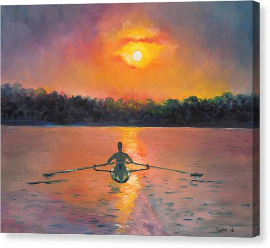 Sunrises Canvas Print - Rowing Away by Eve  Wheeler