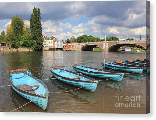 Rowing Boats At Hampton Court Canvas Print