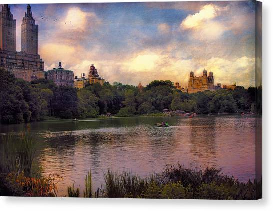 Rowing In Central Park Canvas Print