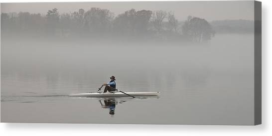 Rowing Into Morning Fog Canvas Print